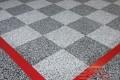 290 Garage Floor Epoxy Flake Concrete Coating Coppell Pelaez GC-02 GrayStone Border Red Stripe Checkerboard 04