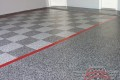 290 Garage Floor Epoxy Flake Concrete Coating Coppell Pelaez GC-02 GrayStone Border Red Stripe Checkerboard 06
