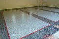 30 Garage Floor Epoxy Flake Concrete Coating Dallas Aulds GC-02 GrayStone Border Red Stripes Design