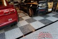323 Garage Floor Epoxy Flake Concrete Coating Mineral Wells Pullen GC-02 GrayStone Border Black Stripe Checkerboard_01