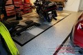 323 Garage Floor Epoxy Flake Concrete Coating Mineral Wells Pullen GC-02 GrayStone Border Black Stripe Checkerboard_02