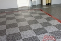 290 Garage Floor Epoxy Flake Concrete Coating Coppell Pelaez GC-02 GrayStone Border Red Stripe Checkerboard 10