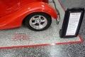 30 Garage Floor Epoxy Flake Concrete Coating Dallas Aulds GC-02 GrayStone Border Red Stripes Design0