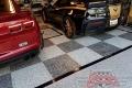 323 Garage Floor Epoxy Flake Concrete Coating Mineral Wells Pullen GC-02 GrayStone Border Black Stripe Checkerboard_01