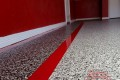 245 Garage Floor Epoxy Flake Concrete Coating Ovilla Elkin GC-02 GrayStone Border Red Stripe01