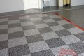 290 Garage Floor Epoxy Flake Concrete Coating Coppell Pelaez GC-02 GrayStone Border Red Stripe Checkerboard 10