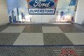 44 Garage Floor Epoxy Flake Concrete Coating Irving Westway Ford GC-02 GrayStone Border Blue Stripe Checkerboard 18