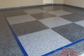 73 Garage Floor Epoxy Flake Concrete Coating Coppell Brayden Custom Border Blue Stripe Checkerboard 14