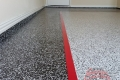 142 Garage Floor Epoxy Flake Concrete Coating Rockwall DeLeon GC-02 GrayStone Border Red Stripe 01