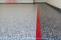 142 Garage Floor Epoxy Flake Concrete Coating Rockwall DeLeon GC-02 GrayStone Border Red Stripe 05