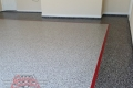 142 Garage Floor Epoxy Flake Concrete Coating Rockwall DeLeon GC-02 GrayStone Border Red Stripe 07