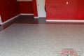 245 Garage Floor Epoxy Flake Concrete Coating Ovilla Elkin GC-02 GrayStone Border Red Stripe02