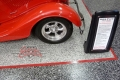 30 Garage Floor Epoxy Flake Concrete Coating Dallas Aulds GC-02 GrayStone Border Red Stripes Design0