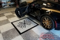 323 Garage Floor Epoxy Flake Concrete Coating Mineral Wells Pullen GC-02 GrayStone Border Black Stripe Checkerboard_03