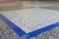 73 Garage Floor Epoxy Flake Concrete Coating Coppell Brayden Custom Border Blue Stripe Checkerboard 24