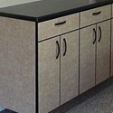 Laminate faced garage cabinets